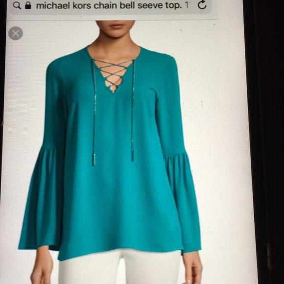 36324baefcb Michael kors bell sleeve chain link blouse 🆕